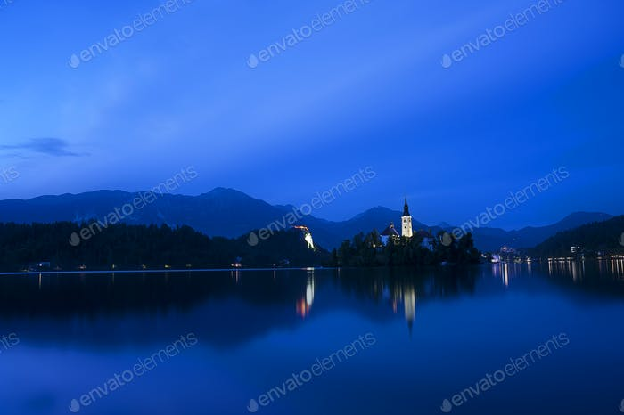 Night at Famous Bled Lake National Park at dusk, Slovenia