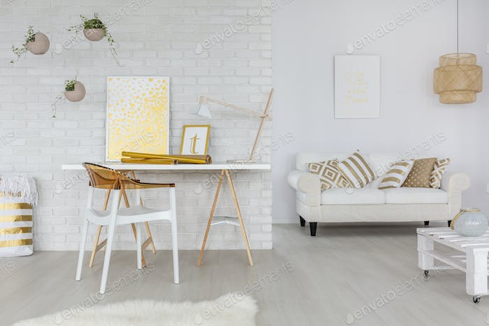Study room in scandi style