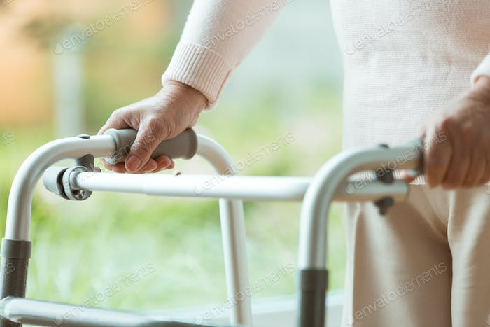 Senior person using a walker