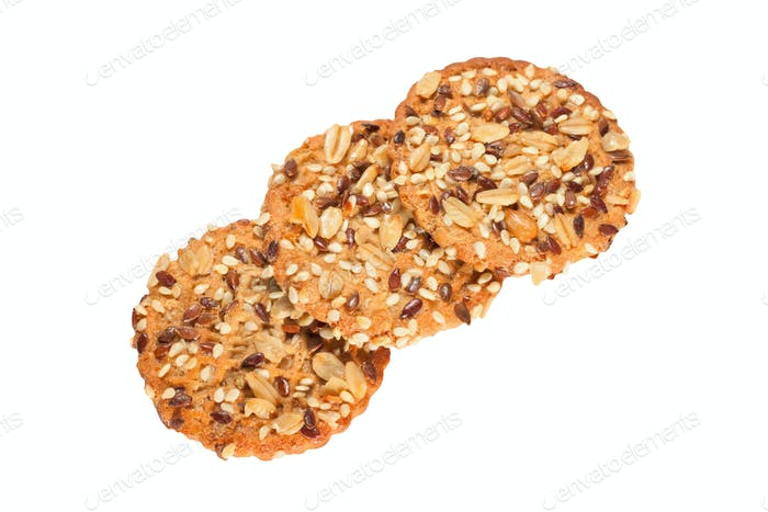 sesame cakes on white background