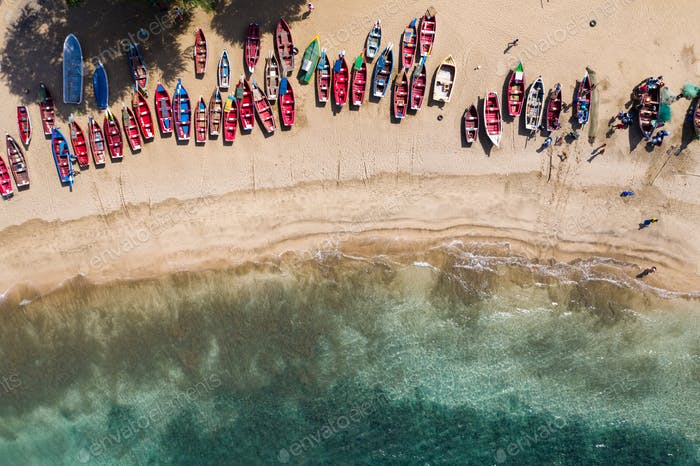 Aerial view of fishing boats in Tarrafal beach in Santiago island in Cape Verde - Cabo Verde