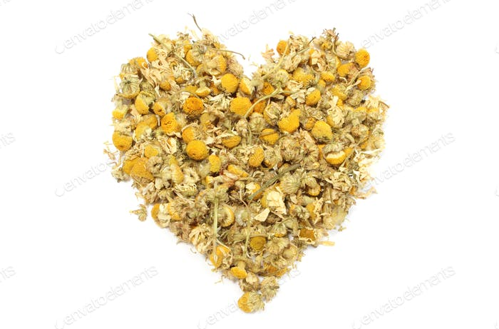 Heart of yellow chamomile on white background