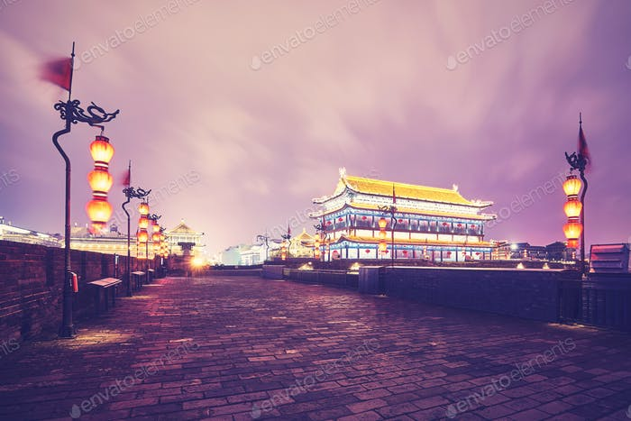 Xian city wall at night, China.