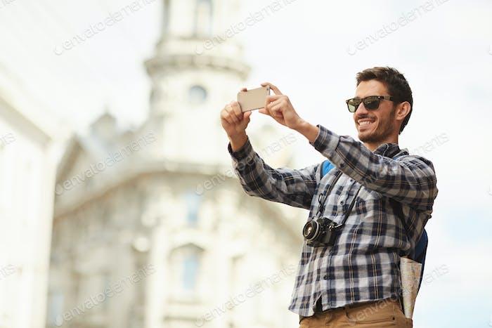 Tourist Taking Photos in Europe