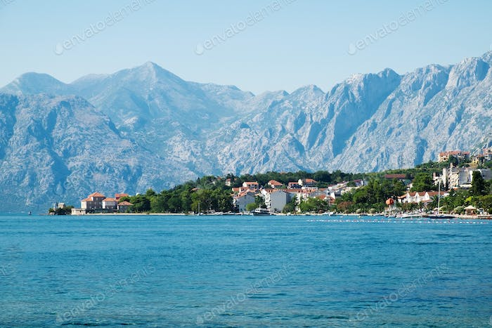 View of Kotor Bay near Dobrota, Montenegro