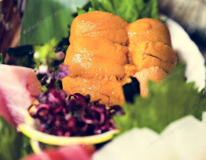 Uni sushi japanese food healthy