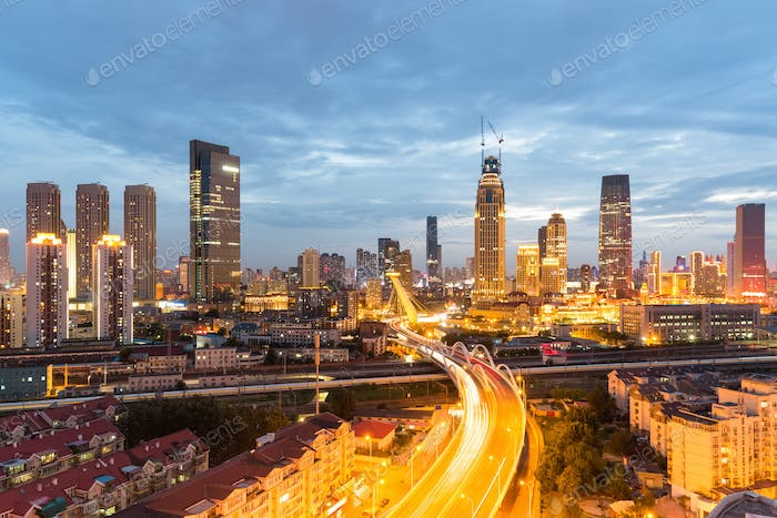 modern urban scene of tianjin in nightfall