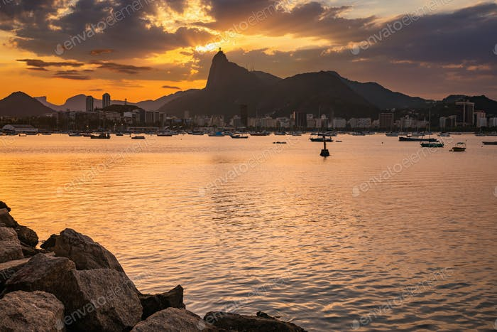 Beautiful panorama of Rio de Janeiro at twilight, Brazil.