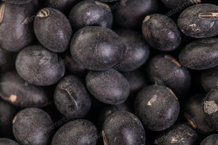 Makro-Textur von schwarzen Sojabohnen
