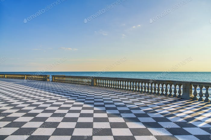 Mascagni Terrazza terrace at sunset. Livorno Tuscany Italy