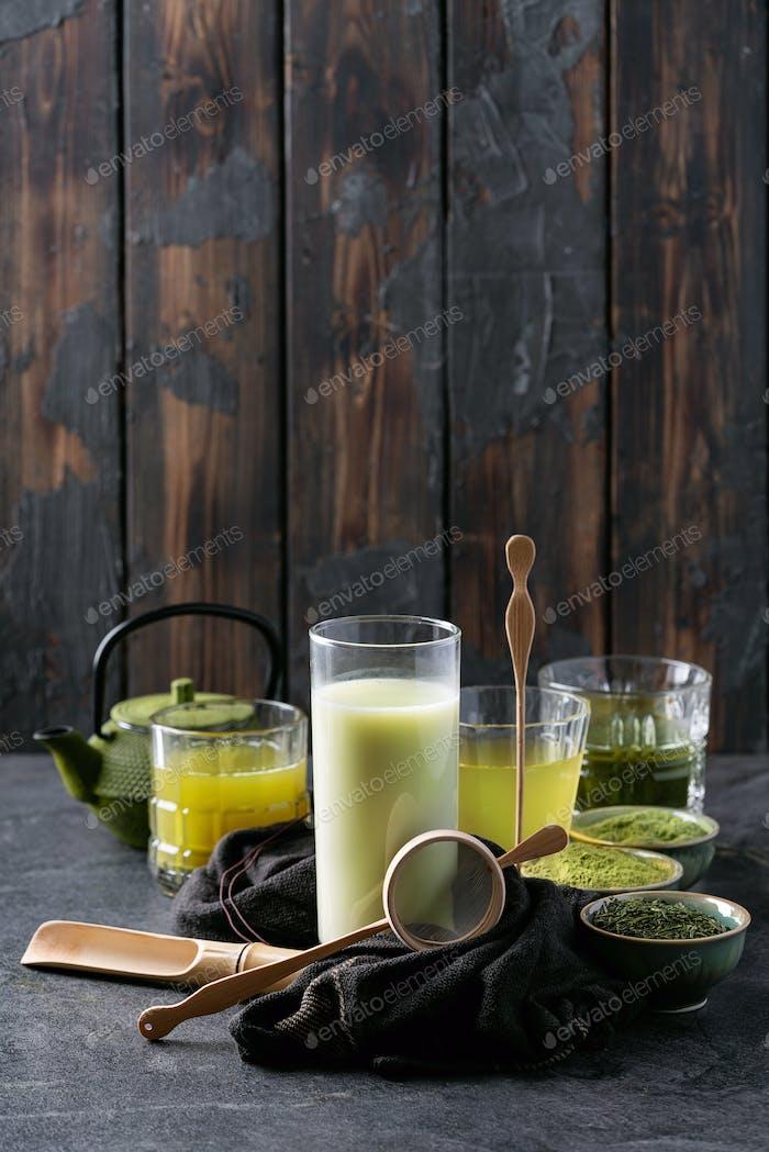 Variety of matcha tea
