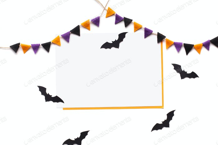 Halloween card with creative decorations and copy space for text