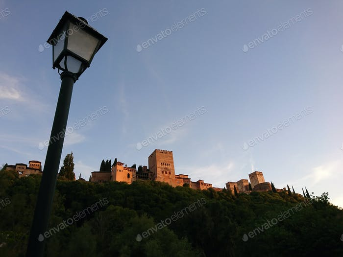Views of the Alhambra at sunset