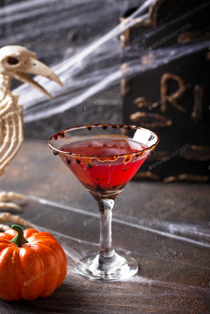 Halloweens drink red martini cocktail