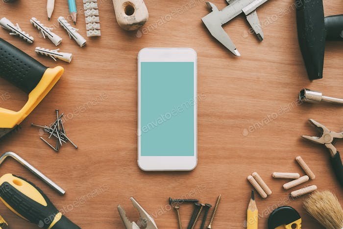 Handyman smart phone with blank screen