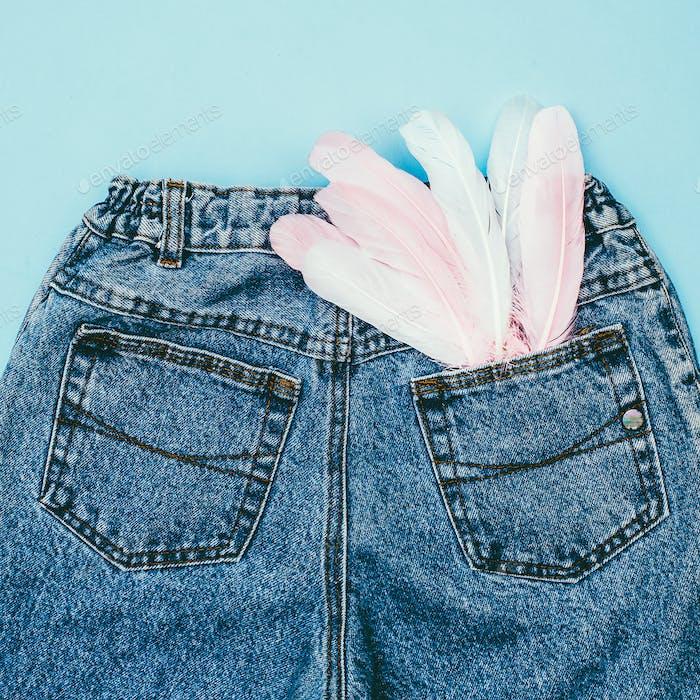 Blue Jeans Style. Minimal fashion Details