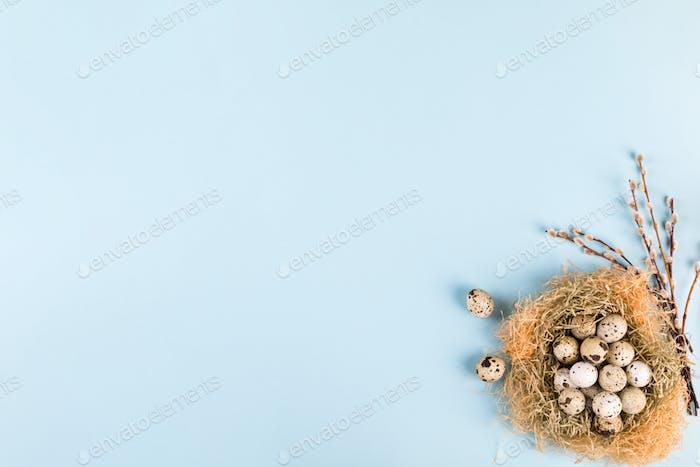 Ostern Zusammensetzung Wachteleier in einem Nest .Frohe Ostern.