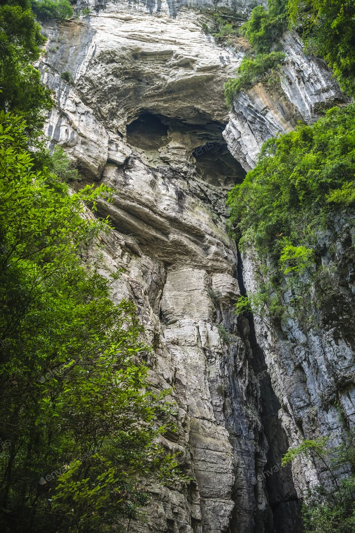 Rocky face on a mountain wall in Wulong National Park