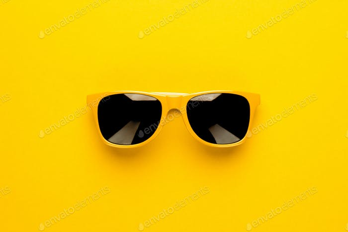 Studio Shot Of Yellow Sunglasses