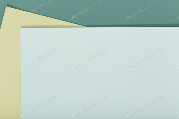 Abstract blue, green and beige color paper geometry composition background