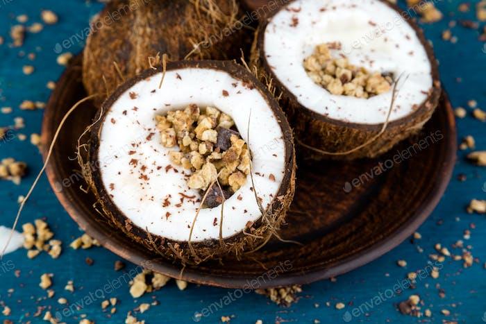 Healthy breakfast in coconut bowl.
