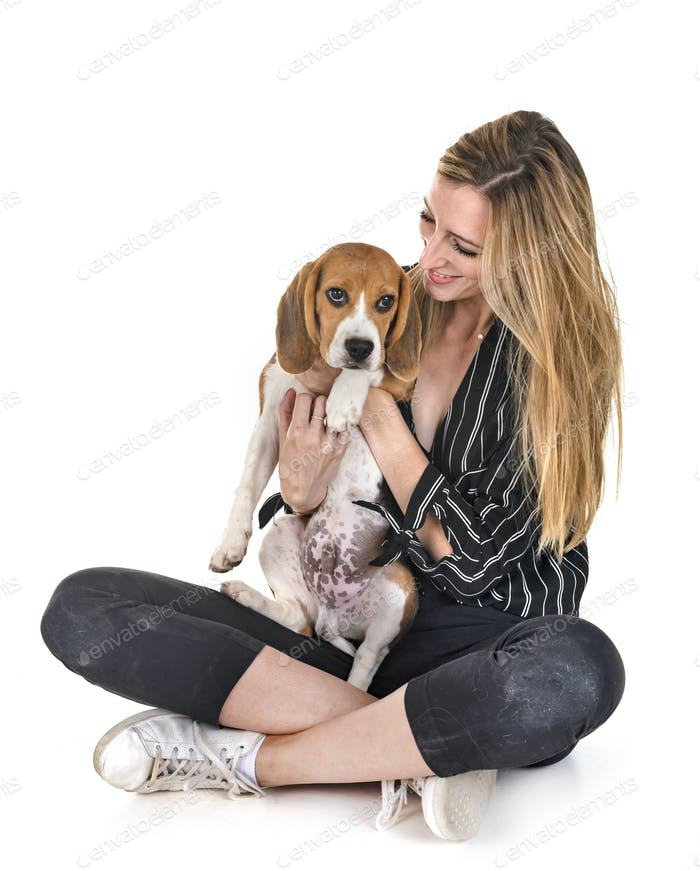 puppy beagle and woman