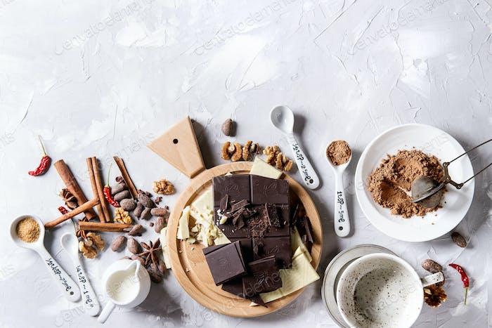 Zutaten für heiße Schokolade