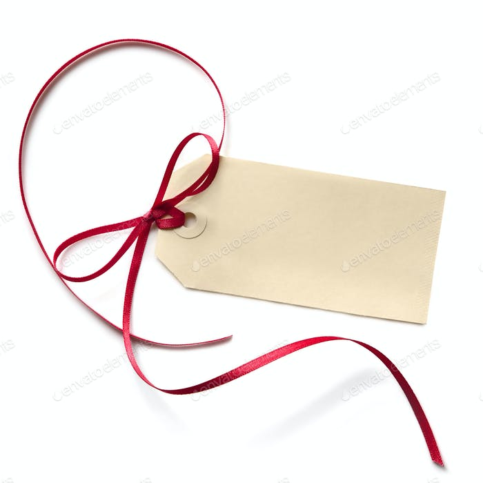 Blank gift tag with red ribbon photo by robynmac on envato elements blank gift tag with red ribbon negle Images