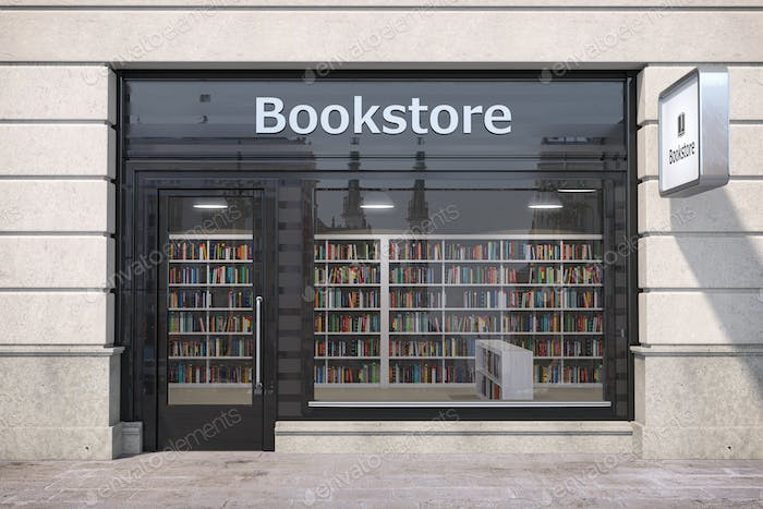 Bookstore shop exterior with books and textbooks in showcase.