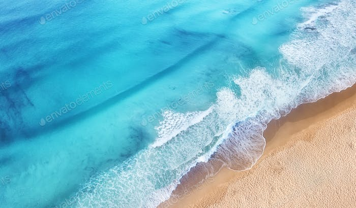 Beach and sea as a background. Landscape from air