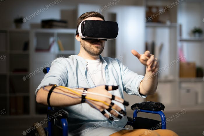 Man in virtual world