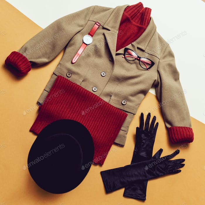 Lady Spring Autumn Vintage Outfit knitted sweaters and accessori