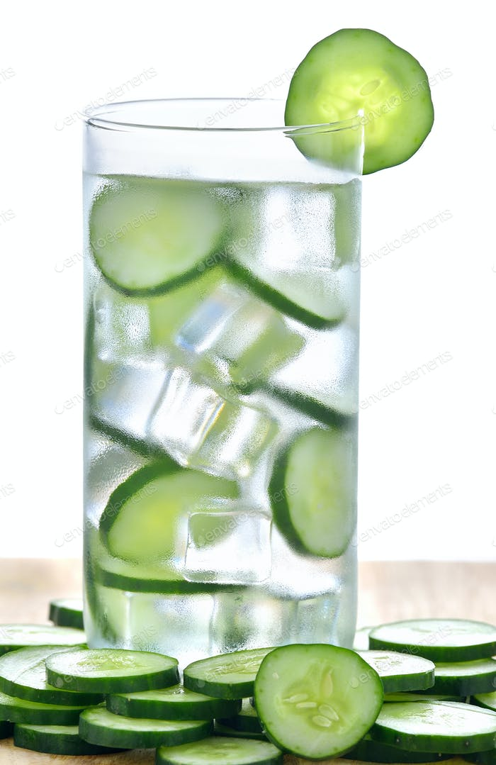 Glass of freshness water with cucumber
