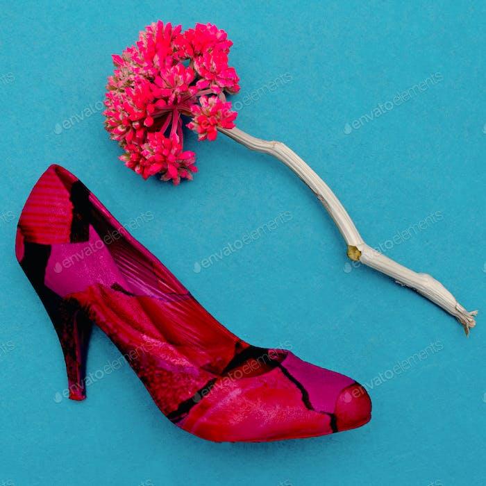 Vintage Lady Shoe and flower. Minimal art design