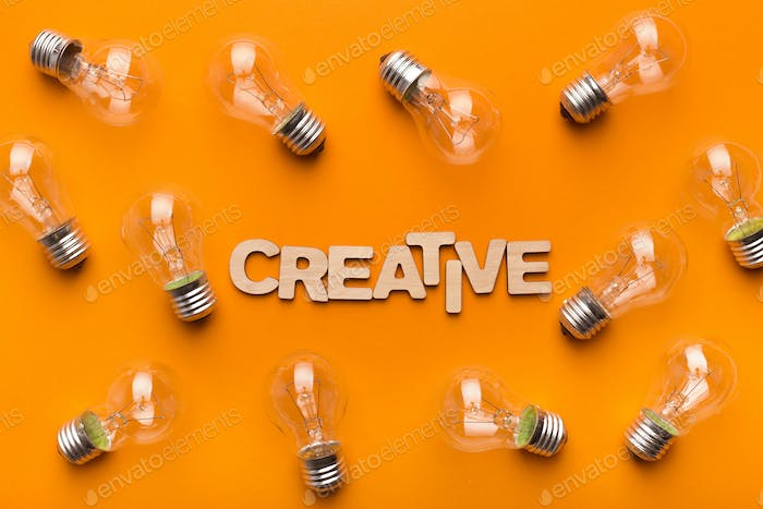Abstract creative background with light bulbs