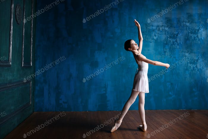 Teenage ballerina in the studio