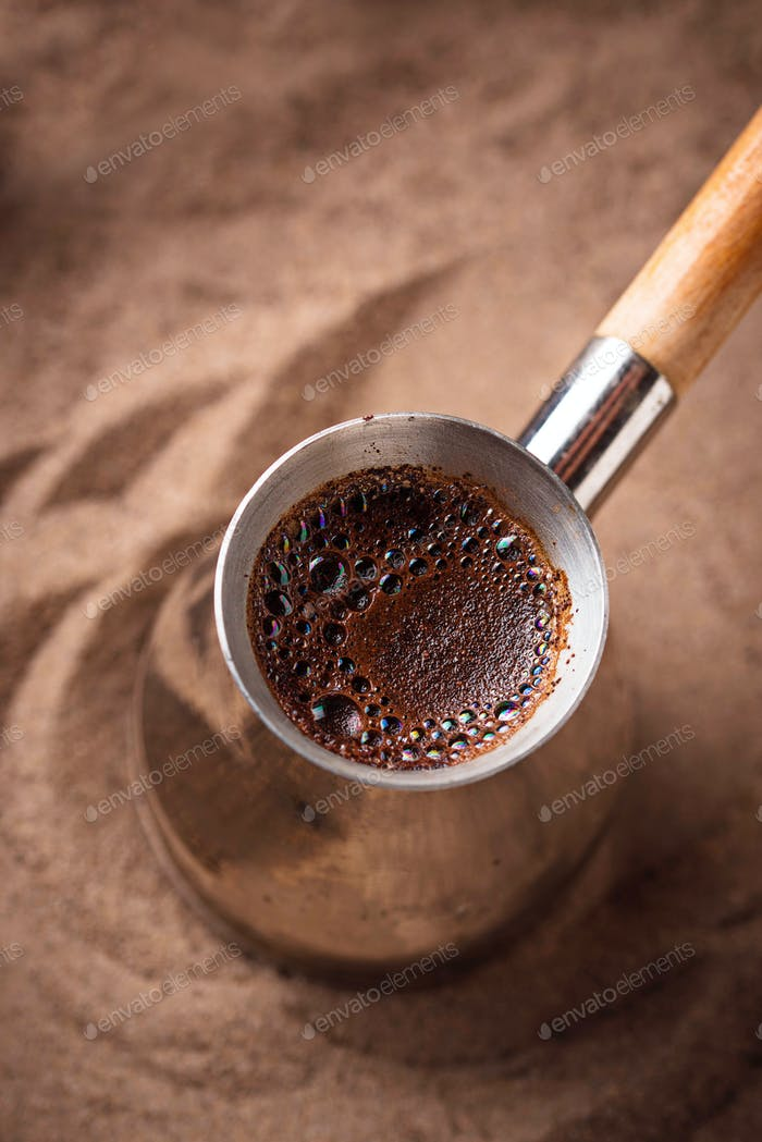 Traditional turkish coffee in cezve