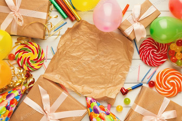 Birthday background with party hats and present box