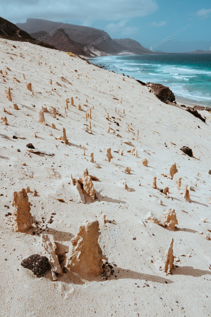 Bizarre sandstone formations in the lunar landscape on the coastline of Sao Vicente Island Cape