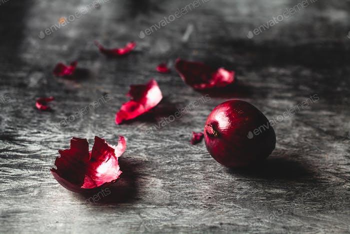 red onions on dark background