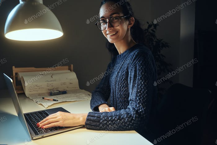 Young businesswoman is working from home