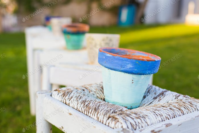 Decorative rusty pot without plant outdoor. Concept of garden decor
