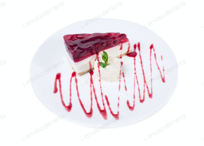 Delicious cherry cheesecake with mint.