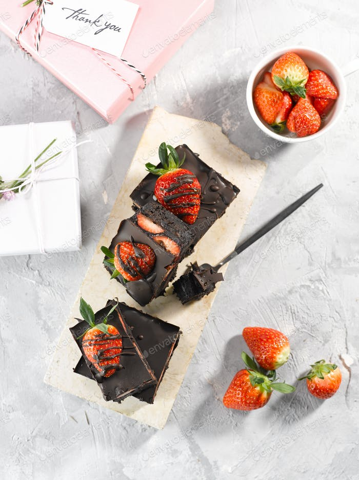 Strawberry Brownie Top View