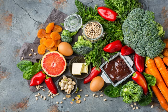 Assortment of diet food ingredients rich in vitamin a