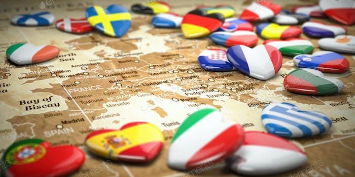 Mapa de Europa y corazones con banderas de países europeos