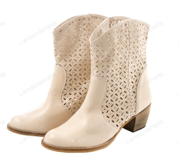 White cowgirl boots pair