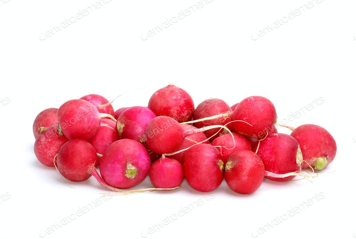 Small pile of red ripe garden radish