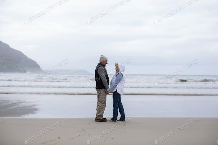 Älteres Paar stehend mit Händen halten und einander anschauend