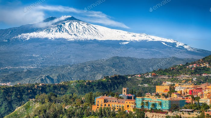 Etna volcano and Taormina town aerial panoramic view